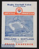 1934 England v Scotland Rugby Programme: In an England Triple Crown/Champs season^ crisp card with
