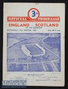 1947 England v Scotland Rugby Programme: England shared the title. Odd mark and fold but back to the