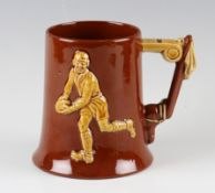 Fine Dartmouth Pottery Devon Handmade Rugby Tankard: (1pint) - brown^ decorated with gold rugby