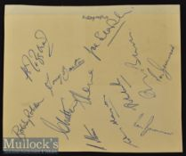 1954 Fulham Signed Autograph Page fully signed by B Jezzard^ T Barton^ B Robson^ C Mitten^ E Lowe^ A