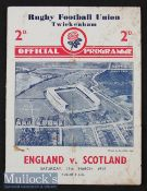 1938 England v Scotland Rugby Programme: In Scotland's Triple Crown/Champs season^ 'Wilson Shaw's