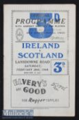 1948 Ireland v Scotland Rugby Programme: Ireland's Grand Slam season as they won this Celtic