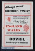 1947 Wales v England Rugby Programme: Those two sides shared the first post-war title. An 8pp