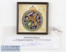 1948 Wolverhampton Wanderers Tour of Holland Commemorative Delft Tile presented to Leslie Smith^