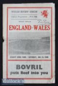 1949 Wales v England Rugby Programme: Well worn and grubby with slight internal tear but not a