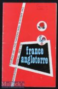 1962 France v England Rugby Programme: Magazine-style issue. France won the Championship. Score to
