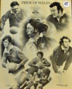 """Pride of Wales b/w Rugby Print: 21"""" x 17"""" print of lovely pencil drawing by S Parkinson^ accurate"""