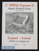 1931 England v Ireland Rugby Programme: England champions. Pocket fold^ Springbok tour details