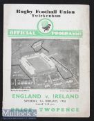 1935 England v Ireland Rugby Programme: In Ireland's Championship season^ well-worn cover but o/wise