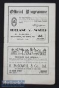 1948 Ireland v Wales Rugby Programme: Ireland swept the board with this 6-3 Slam clincher at