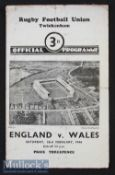 1946 England v Wales 'Victory' Rugby Programme: A 3-0 Wales win in this non-cap post war match^