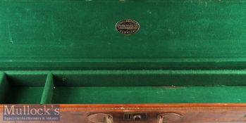 Rare and not seen before, Hardy Bros Alnwick large leather and brass cornered travelling case c/w
