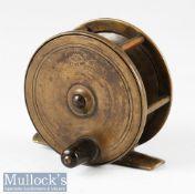 "Early D Crockart & Co Stirling 3 ¼"" all brass platewind reel four pillar construction, maker's marks"