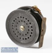 """W H Dingley retailed by H Monk Chester Perfect Style alloy trout fly reel – 3"""" dia smooth brass"""