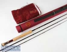 """Fine and as new Hardy """"Swift"""" carbon trout fly rod - 9'6"""" 3pc line 7# - Fuji style lined butt"""