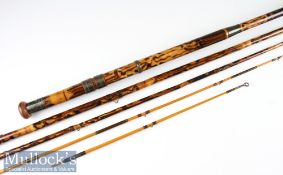 Interesting decorative mottled whole cane and lancewood combination salmon fly rod – 12ft 3in 4pc