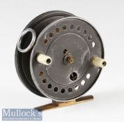 "Unnamed Farlow's Aerial Style Self Controlled Spinning alloy reel c1936-1940 – 4"" dia with brass rim"