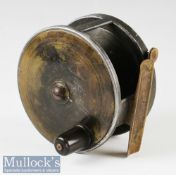 """C Farlow & Co London 4 ½"""" brass and alloy plate wind reel pat 10527 wide drum exposed rim tensioner,"""