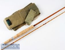 "Good Hardy Bros ""The J J H Triumph"" Palakona fly rod -8'9"" 2pc line 6#, clear Agate lined butt and"
