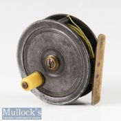 """Early P D Malloch Perth 3"""" alloy fly reel in Uniqua style, smooth brass foot, white handle, constant"""