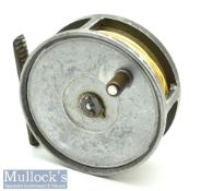 """Hardy Bros Alnwick Hydra 4 3/8"""" salmon fly reel with lacquered ribbed brass foot signs of surface"""