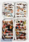 Wheatley Silmalloy fly tin and flies containing various single and double hook flies, with clips