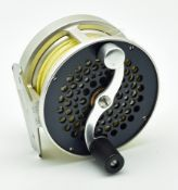 """Fine S E Bogdan Nashua, N H wide drum fly reel for use with WF5/7 lines - 3 1/8"""" x 1.75"""" with rear"""