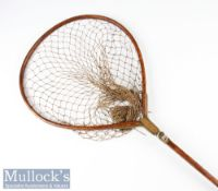 Early C Farlow & Co London wooden and brass Gye trout landing net c1890 – c/w original knotted