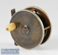 """Early Hardy Bros Alnwick brass, ebonite and nickel plated rim fly reel – 3"""" dia stamped with"""