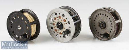 """3x J W Young & Sons Salmon fly reels to include Condex 4"""", Beaudex 4"""" and Beaulite 4 1/2"""" all in"""