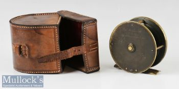 """C Farlow & Co London 3"""" brass plate wind fly reel in maker's leather D shaped reel case c1890 - with"""