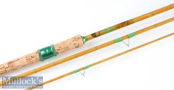"Fine Mitre-Hardy ""The Wondrex Super Float"" split cane rod fully refurbished – 11ft 3pc with amber"