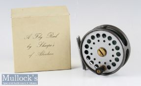 "Good 'Sharpe's of Aberdee' ""The Gordon"" alloy fly reel in makers original box - 3.25 inch diameter"