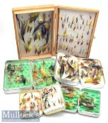 Good collection of Salmon and Trout Flies and boxes (150#) – comprising 4x alloy Perrine and