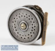 """Farlow 'The Heyworth' silent check 3"""" trout fly reel with 'Holdfast' logo, marked Pat. No. 23129,"""