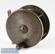 """G Little & Co Makers to HRH Prince of Wales' London brass plate wind salmon fly reel c1890s - 4"""" dia"""