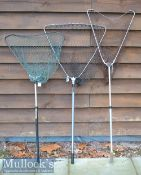 3x various Collapsible and extending alloy landing nets - to include overall lengths the extended 54