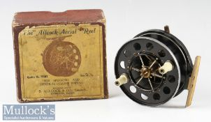 Scarce Allcocks Aerial Alloy Ventilated Centre pin reel with rim check lever c1930 early 1940s –
