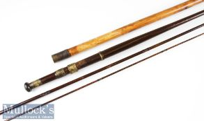 Early Turnbull Princes Street, Edinburgh greenheart trout fly rod and makers rod tip tube c1890 –