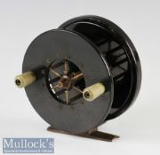 """S Allcock & Co Redditch 4"""" Aerial Sea centrepin reel in brass and Bakelite construction, on/off"""