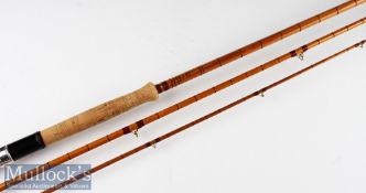 """Fine Falcon Makers Redditch """"The Titan"""" split cane spinning rod: 12ft 3pc - red Agate lined butt and"""