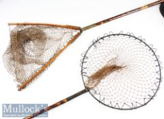 2x vintage Decorative Mottled Bamboo long handled trout size landing nets – one is fitted with screw