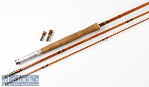 "J S Sharp Aberdeen split cane trout fly rod-10'6"" 3pc, line7# - trumpet style cork handle lightly"