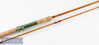 """D Pearce """"The Dell 10"""" Avon split cane rod – 10ft 2pc – amber agate lined butt and tip guides –"""