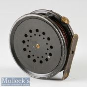"Hardy Bros Made In England The Perfect trout fly reel c1950s – 3 1/8"" dia, ribbed brass foot,"