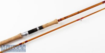 """Fine Falcon Redditch """"The Monarch"""" split cane spinning rod – 9ft 6in 2pc – fully fitted with pink"""