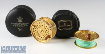 Hardy The Gold Sovereign 11/12 Salmon Fly Reel and spare spool – ltd ed no 873, ribbed foot, twin ""