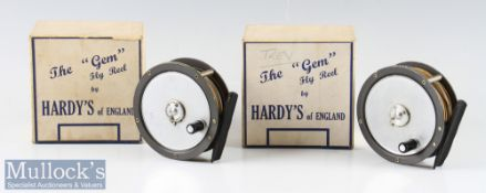 2x good Hardy Bros England The Gem alloy fly reels in makers original blue and white retail