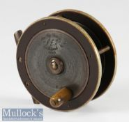 """Slater S E J Fly Fishers Winch 3 1/8"""" silent check fly reel ebonite and brass construction with"""
