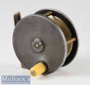 "P D Malloch Maker Perth alloy trout fly reel – 3"" dia, smooth brass foot, constant check – runs"